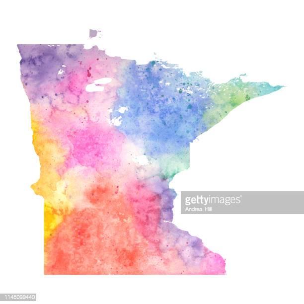 パステルカラーでミネソタ州水彩画ラスターマップイラスト - デジタル合成点のイラスト素材/クリップアート素材/マンガ素材/アイコン素材