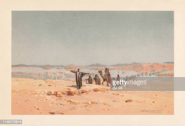 a mirage in the desert, chromolithograph, published in 1898 - nomadic people stock illustrations