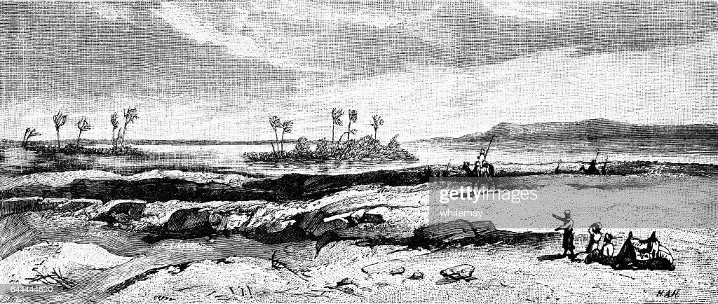 Mirage in the desert - Victorian engraving : stock illustration