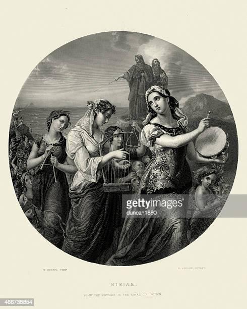 miriam's song of praise by wilhelm hensel - tambourine stock illustrations