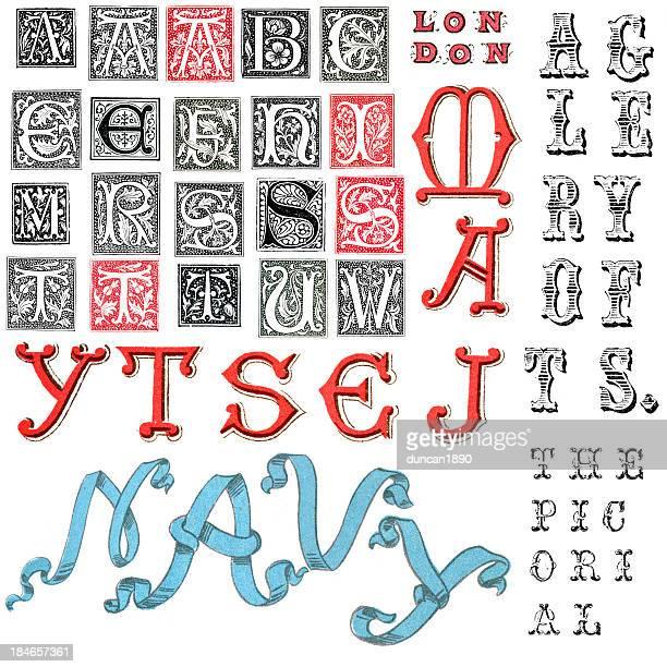 stockillustraties, clipart, cartoons en iconen met miscellaneous retro alphabet letters - hoofdletter