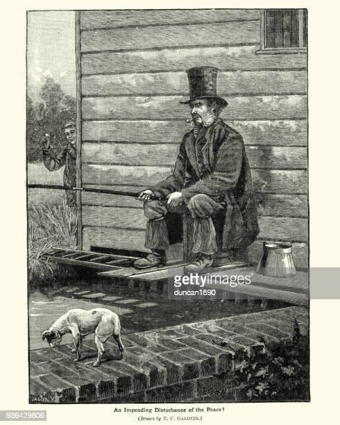 mischievous boy disturbing a man fishing, 19th century - teasing stock illustrations, clip art, cartoons, & icons