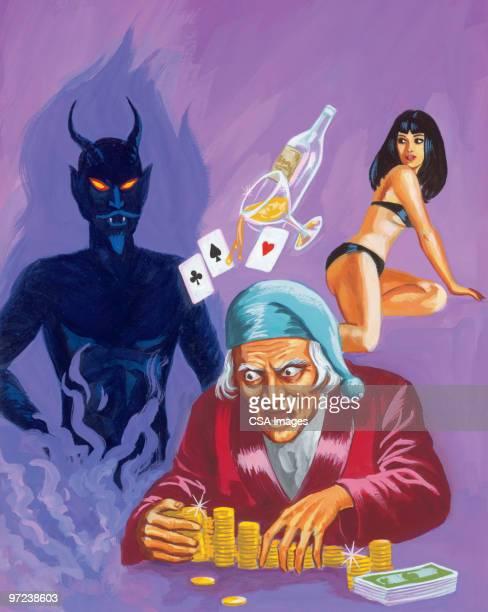 miser, devil and woman - seduction stock illustrations, clip art, cartoons, & icons