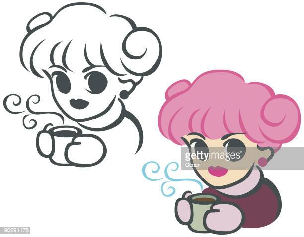 miss coffee - hair bun stock illustrations, clip art, cartoons, & icons