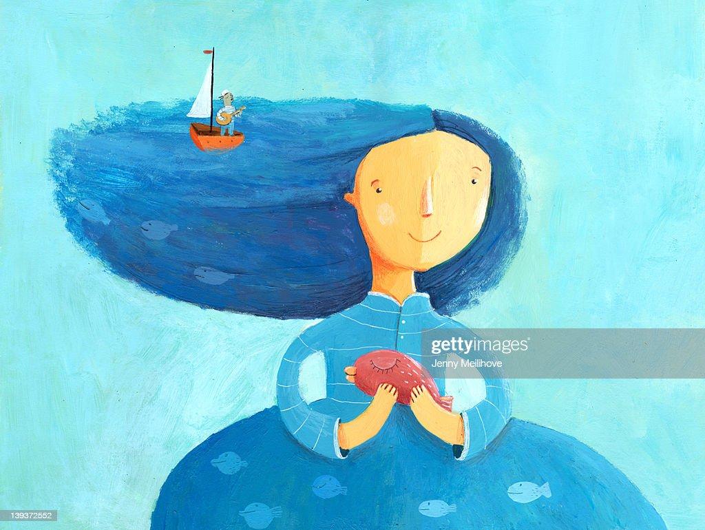 Miss sea : stock illustration