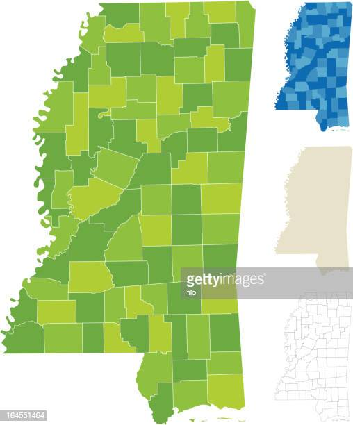 mississippi county map - mississippi stock illustrations, clip art, cartoons, & icons