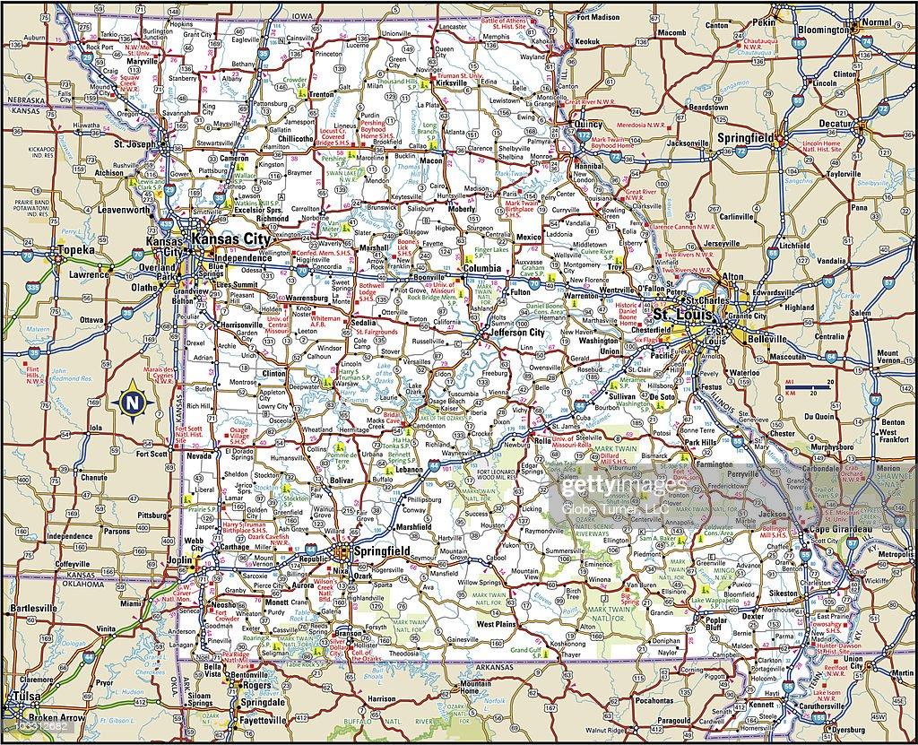 Missouri Highway Map Vector Art Getty Images
