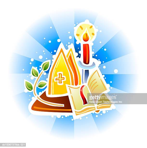 mitre, bible and candle - religious dress stock illustrations, clip art, cartoons, & icons