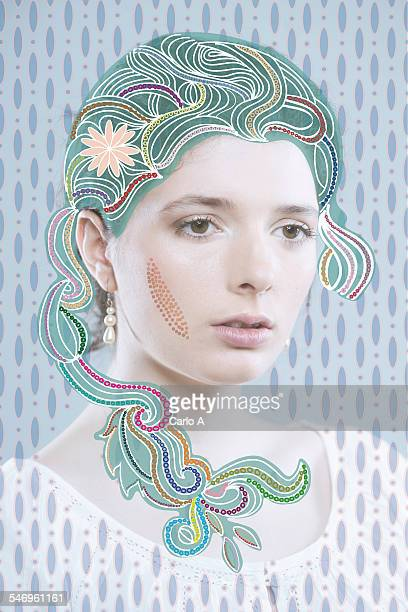 mixed art portrait - one young woman only stock illustrations