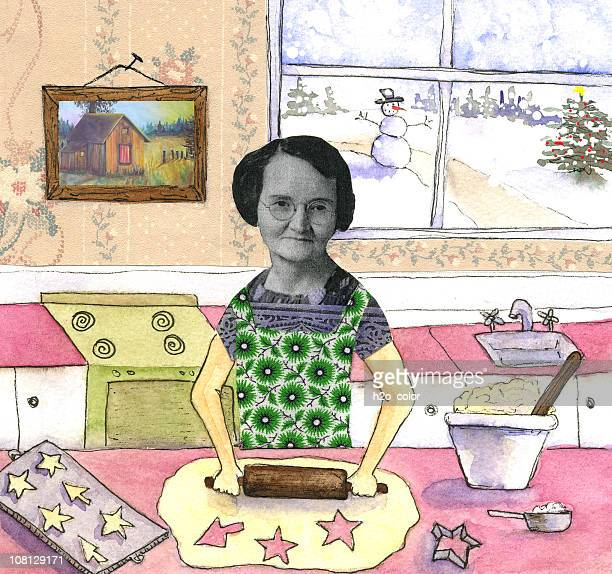 Mixed Collage of Woman Making Cookies
