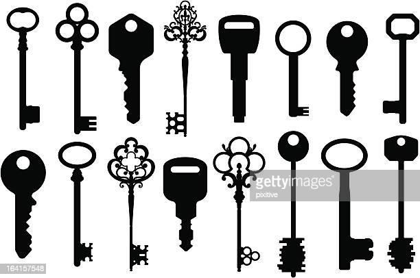 mixed keys silhouettes - key stock illustrations