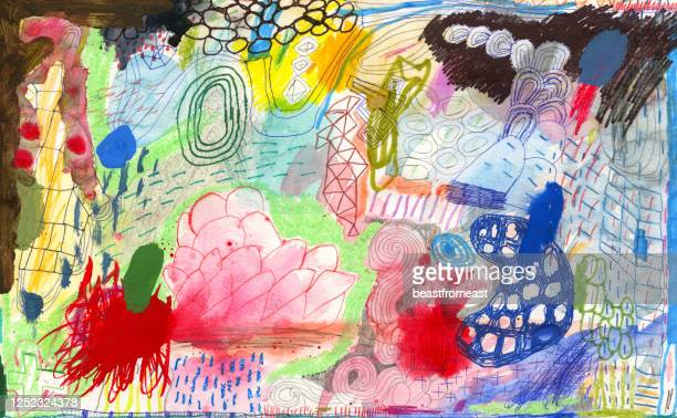 mixed media abstrakte doodle - streetart stock-grafiken, -clipart, -cartoons und -symbole