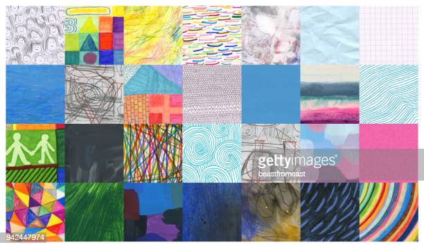 Mixed media background pattern mosaic