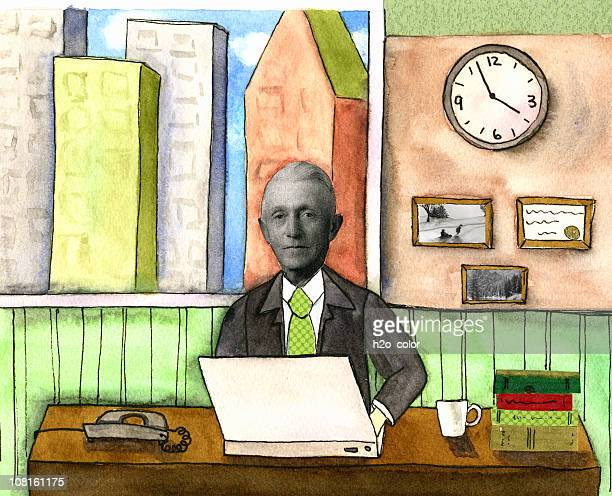 mixed media businessman with laptop - mixed media stock illustrations