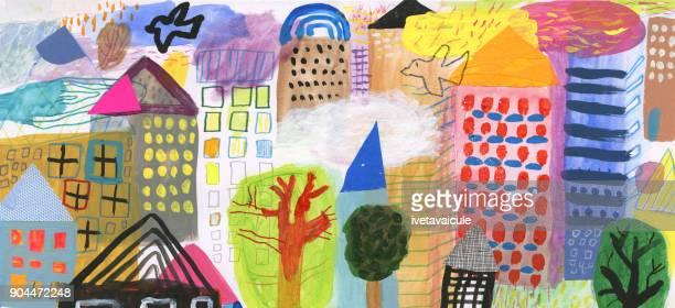 様々 な建物や都市の鳥のミクスト メディア絵画