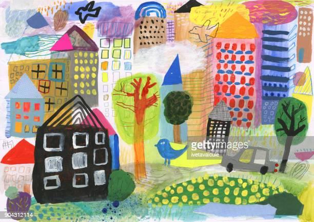さまざまな都市の建物の混合メディア絵画