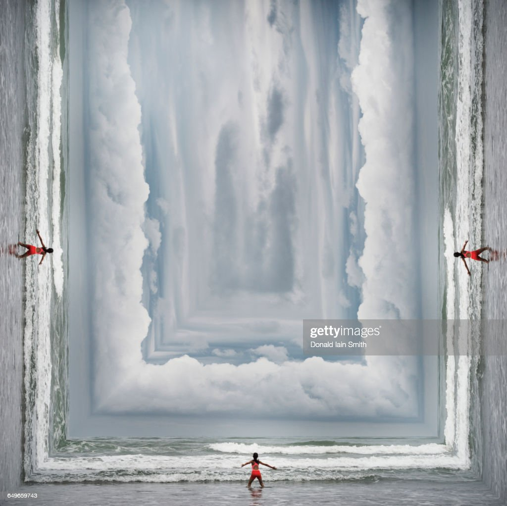 Mixed race girl standing on surreal beach : stock illustration