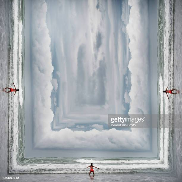 mixed race girl standing on surreal beach - surrealism stock illustrations