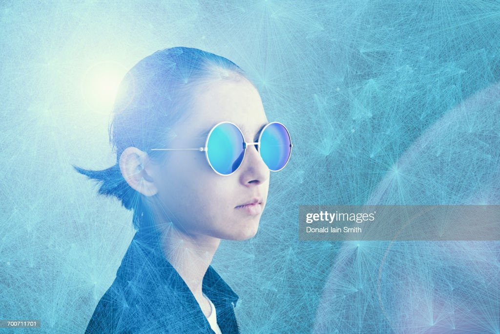 Mixed Race girl wearing sunglasses in cyberspace : stock illustration