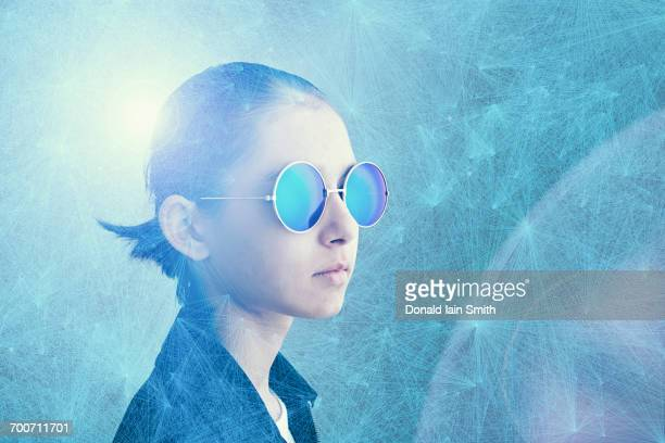 mixed race girl wearing sunglasses in cyberspace - one girl only stock illustrations, clip art, cartoons, & icons