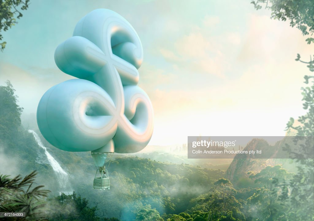 Mixed Race man floating in british pound hot air balloon : Stock Illustration