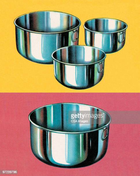 mixing bowls - four objects stock illustrations