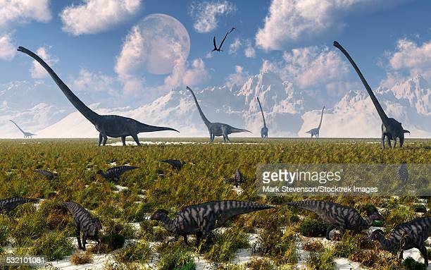 A mixture of sauropod and hadrosaur dinosaur herds grazing together.