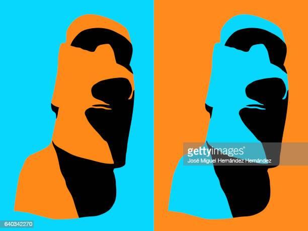 moai easter island illustration cyan-orange contrast - easter island stock illustrations, clip art, cartoons, & icons