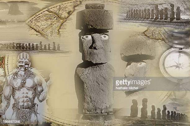 moai in easter island - easter island stock illustrations, clip art, cartoons, & icons