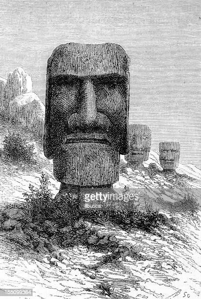 moai on easter island - easter island stock illustrations, clip art, cartoons, & icons