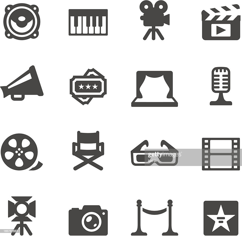 Mobico icons — Film industry : stock illustration