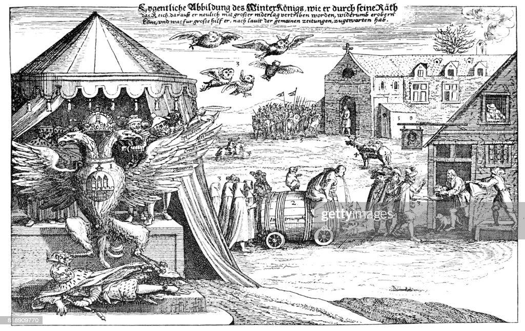Mocking illustration about the Winterking, Winterkönig, 1620 : stock illustration
