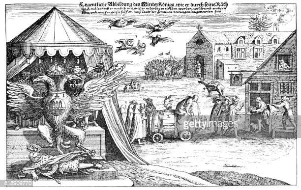 mocking illustration about the winterking, winterkönig, 1620 - sneering stock illustrations, clip art, cartoons, & icons