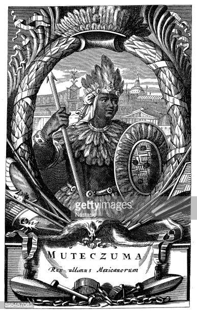 moctezuma ii (c.1465-1520), aztec ruler - aztec stock illustrations