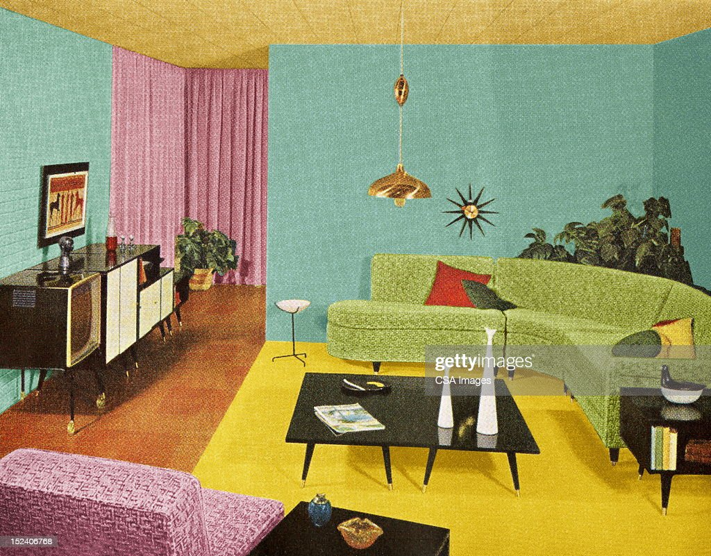 Mod Living Room Stock Illustration Getty Images