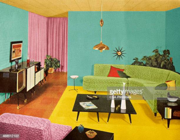 mod living room - medium group of objects stock illustrations, clip art, cartoons, & icons