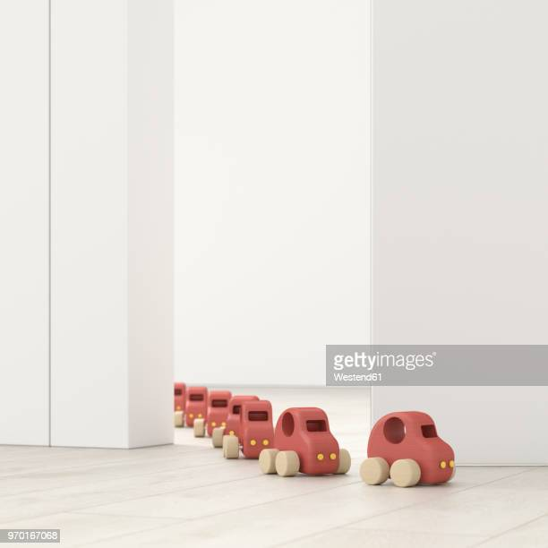 model cars in a row in an empty room, 3d rendering - following stock illustrations