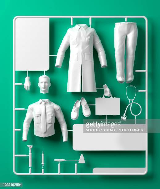 model doctor kit, illustration - group of objects stock illustrations