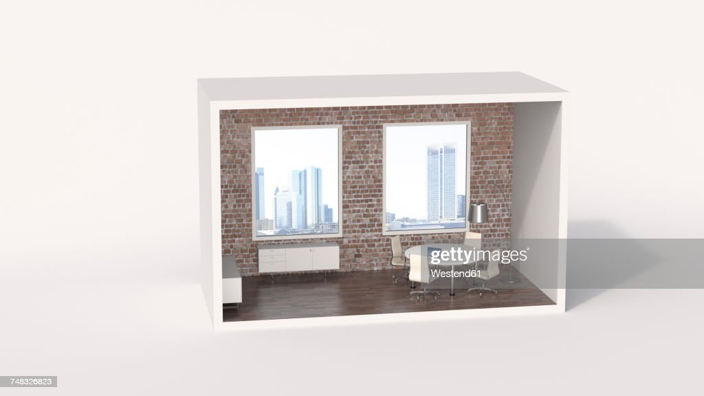 Model of a an urban board room with view of a skyline : stock illustration