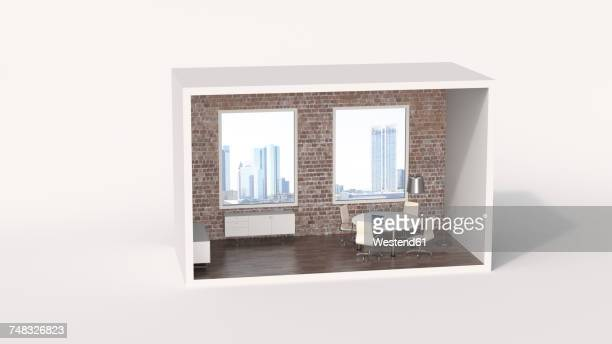 ilustraciones, imágenes clip art, dibujos animados e iconos de stock de model of a an urban board room with view of a skyline - fondo blanco