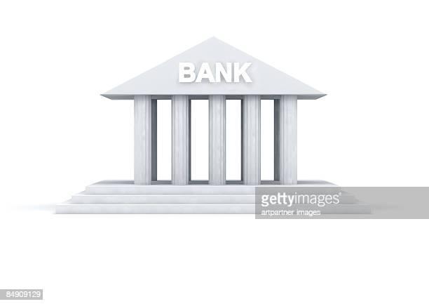 ilustrações, clipart, desenhos animados e ícones de model of a bank building - pediment