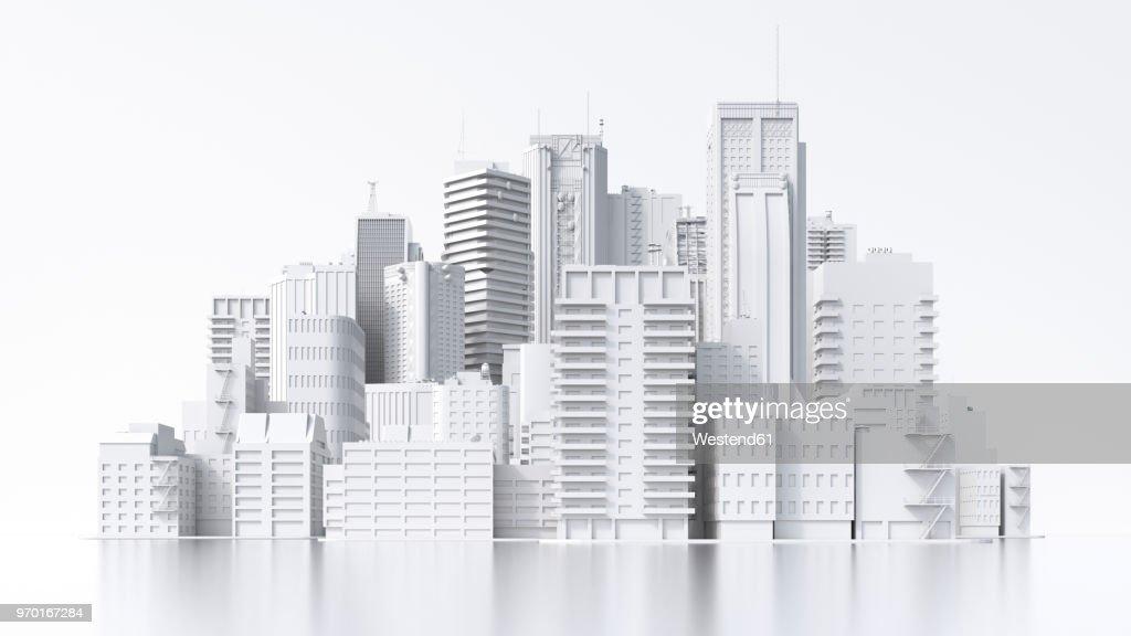 Model of a city, 3d rendering : Ilustración de stock