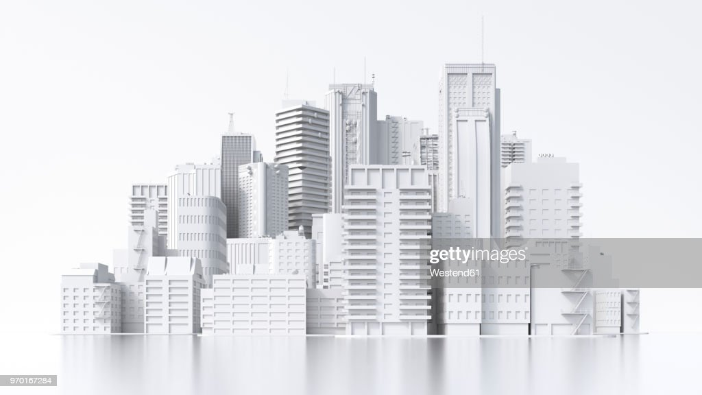 Model of a city, 3d rendering : Stock Illustration