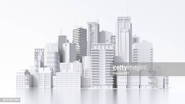ilustraciones, imágenes clip art, dibujos animados e iconos de stock de model of a city, 3d rendering - fondo blanco