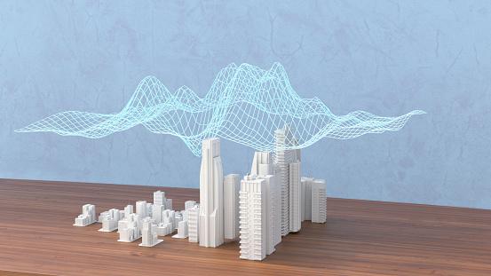 Model of a city with digital grid, 3d rendering - gettyimageskorea