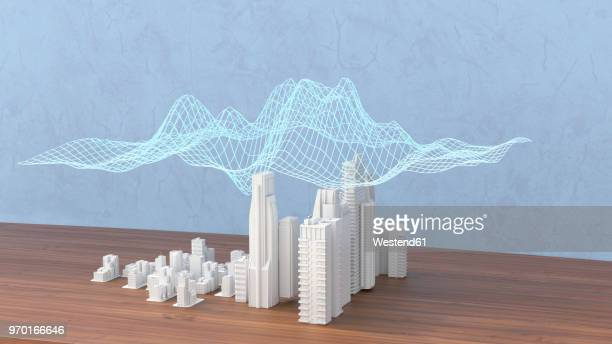 model of a city with digital grid, 3d rendering - model stock illustrations