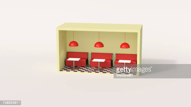 model of a diner in a box - scale stock illustrations