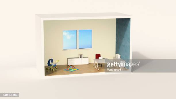 Model of a home office with child's play corner