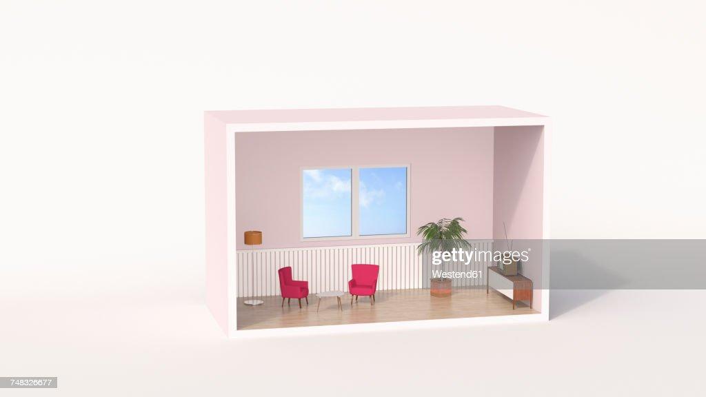 Model of a retro style living room : stock illustration