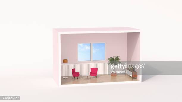 model of a retro style living room - domestic room stock illustrations, clip art, cartoons, & icons